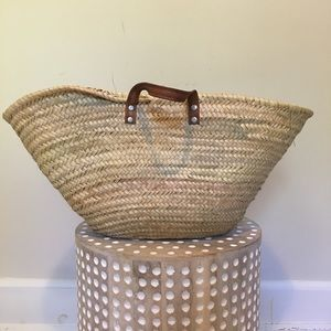 Vintage Straw Woven French Market Basket